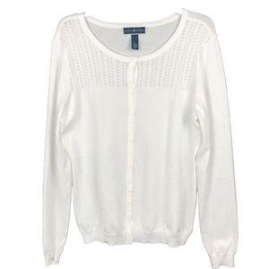 Karen Scott Long Sleeve Button Up Cardigan Sweater